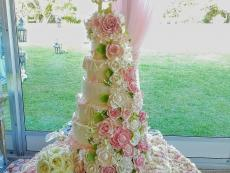 Pink and gumpaste with fresh flower table