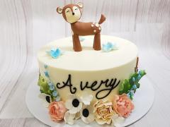 Woodland Deer and Gumpaste flowers